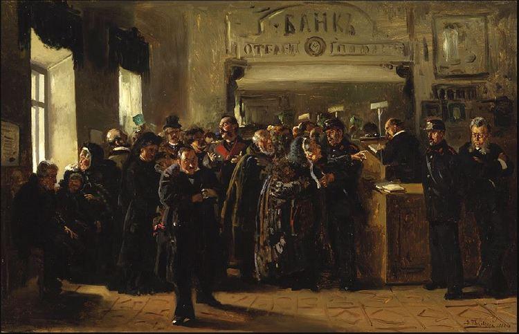 """Владимир Маковский, """"Крах банка, 1880."""