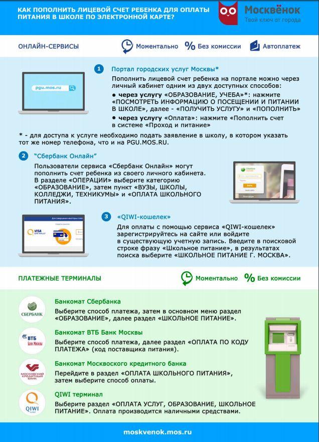 Как пополнить лицевой счёт учащегося в Москве (2017 год)