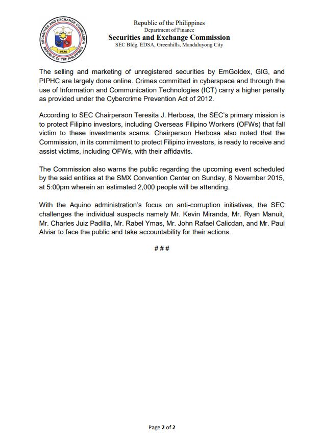 SEC of the Philippines decides that EmGoldex and Global Intergold are scam