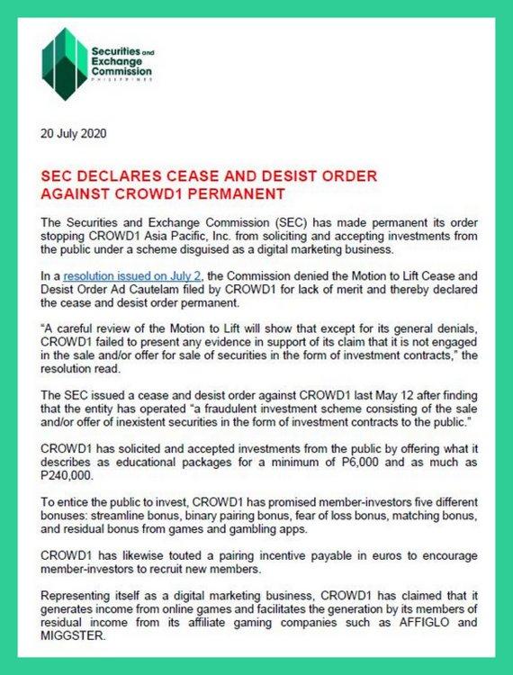 Текст решения финансового регулятора Филиппин о запрете лохотрона Crowd1